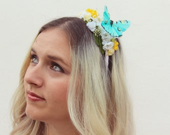 The Delta Queen Headband | turquoise butterfly floral headband | bridesmaids accessory | girls butterfly headband | nature | spring