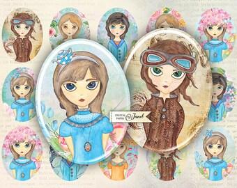 Illustration Girls - oval image - 30 x 40 mm - digital collage sheet  - Printable Download