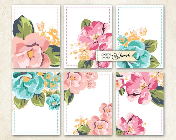 Journal Cards - Pastel FLower - Project Life - digital collage sheet - set of 6 cards - Printable Download