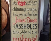 Hand Stenciled primitive theme sign for Christmas
