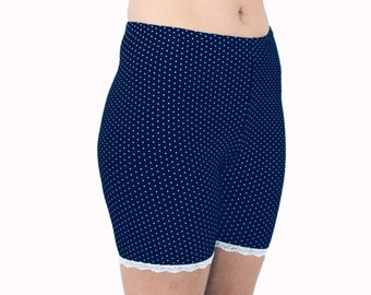 Polka Dot Biker Shorts Navy Bloomers Poly Jersey Lace Trim Tap Pants