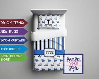 Boys Custom Bedding - Train Bedding - Custom Personalied Duvet - Monogram Comforter - Blue and Black Train Bedroom