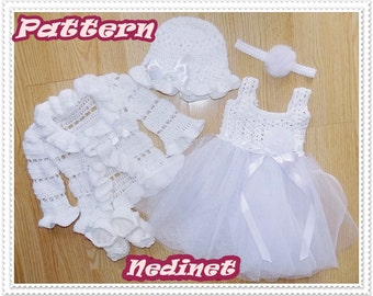 Crochet PATTERN, crochet tulle baby dress set crochet pattern, baby dress pattern, 0-12 months set PATTERN