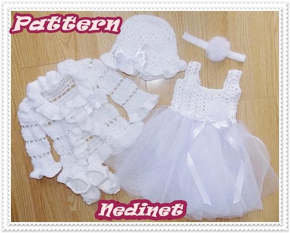 Free Crochet Tulle Dress Pattern : Crochet PATTERN crochet tulle baby dress set by NedinetPattern