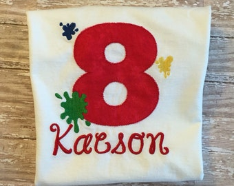 Personalized Art Paint Party Birthday Shirt