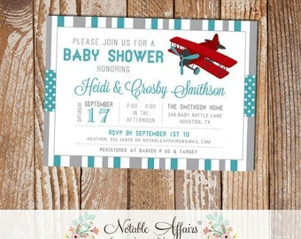 Gray and Teal Airplane Stripes and Polka Dots Baby Shower invitation - choose your colors - Airplane Baby Shower