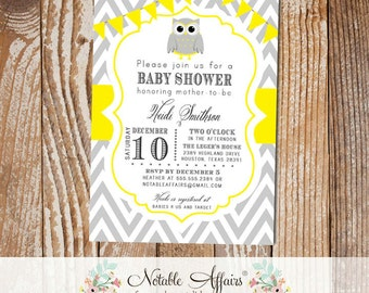 Gray and Yellow Owl Chevron Baby Shower Birthday or Gender Reveal Invitation with bunting - choose your colors