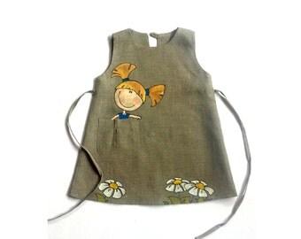 """Lace girl dress - Gray linen dress - Girl linen dress - Gray dress - painted dress  - Size by Height 34""""/86 cm- children summer clothing"""