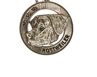 Pewter ~ Rottweiler Keychain ~ DK150