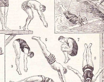 Antique French Print Dictionary Page 1930s Illustrations swimming diving paper projects scrapbooking, collageBook page