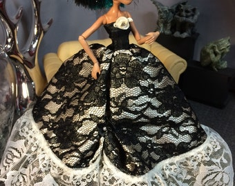 Monster High Doll Gown with Black and Ivory Lace