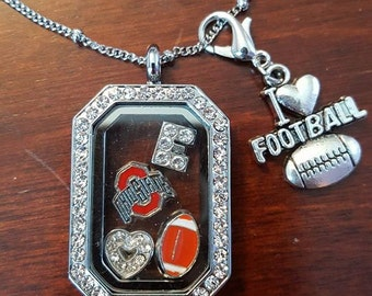 "Ohio State Buckeyes Block ""O"" Locket Charm Necklace, with chain - CUSTOMIZE"