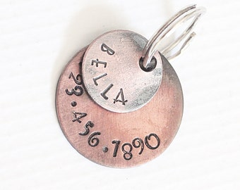 """Bella Pet Tag Custom Pet ID Dog Jewelry Personalized Pet Collar Tag Hand Stamped Dog Tags for Dogs Rustic Copper 1"""""""