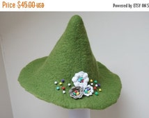 HALLOWEEN SALE Snufkin hat green felted with felt wool crochet flowers feather rose brooch sauna cap tribal Valentine Christmas carnival fes