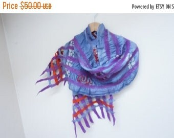 CLEARANCE Blue nuno felt silk wool shawl wrap scarf denim navy ponge hand painted dyed purple burnt orange bordeaux shibori stripe fringe