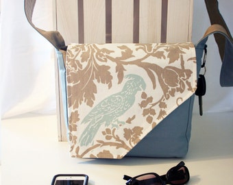 Blue Bird on Solid Blue and Tan Messenger Style Canvas Purse