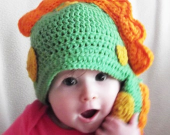 Toddler Dinosaur Hat Lime Green with Orange Spikes Crocheted Handmade Costume, Winter Hat, Make Believe
