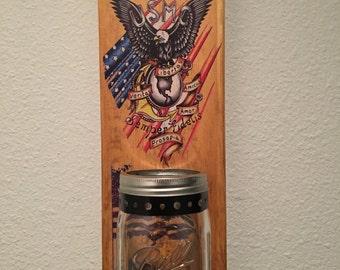 UNITED STATES MARINES  Shield Bottle Opener with Mason Jar Rustic Shield Emblem Marine Corps.
