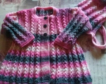 Hand knitted Jacket/sweater with matching Bonnet/18 ins chest/baby girl/Ready to Ship