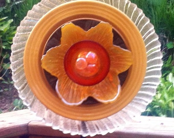 Vintage Glass Garden Flower-Sunflower-Yard Art-Suncatcher-Fleamarket Gardening