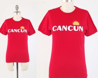 Vintage 70s CANCUN T Shirt - Womens Red Screen Print Tshirt Graphic Tee by Acapulco Joe - Size Small to Medium