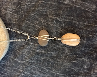 "Cape Cod beach stone and sterling silver necklace on 16"" chain."