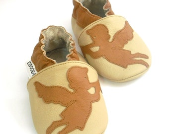 soft sole baby shoes leather infant kids children girl boy gift angel brown beige  18-24m ebooba  86-4