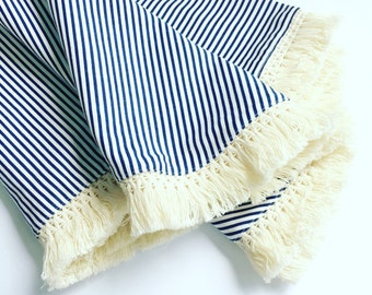 Fringe Baby Blanket ... Navy & White Stripe