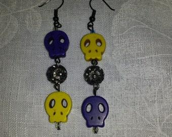 Yellow and Purple Skull Earrings