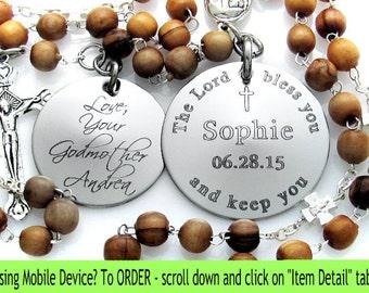 Baptism Boy Gift Ideas. Custom. Personalized. Catholic Christening Gift. Godson. Godfather. Godparents. Custom Rosary. Engraved Gift.