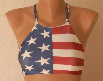 BS1123 PADDED American flag high neck halter bikini top-Swimwear-Swimsuit-Bathing suit-Bikini-Yoga top-Flag bikini-4th July-XS-S-M-L-XL !!