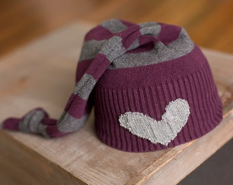 Newborn Girl Hat Upcycled Heart Hat Purple and Gray Striped Sleepy Time Hat Stocking Cap Knot Hat READY TO SHIP Newborn Photography Prop rts