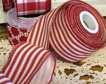 """Red & Cream Ticking Ribbon, 2 1/2"""" Wired Ribbon 5yds, Red Cream Stripe, Red Stripe Ribbon, Wired Wreath Ribbon, 2.5inch Craft Ribbon"""