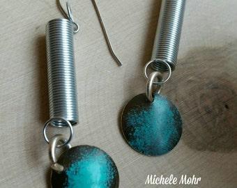 Boho Industrial Verdigris Patina Domed Metal and Spring Earrings