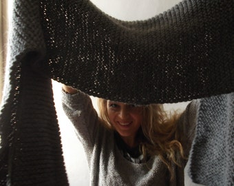Hand knit gray wool scarf