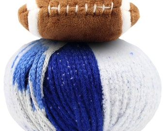 DMC Top This Hat Yarn Kit Team Colors Blue White with Football Topper