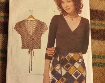 1990's Vogue Elements #9674 Wrap Top Sewing Pattern - c. 1997, All Sizes Included