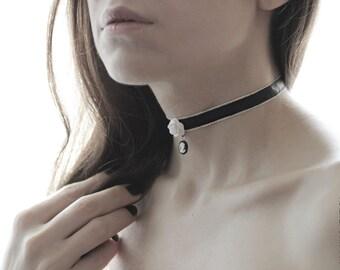White Camellia Flower Choker Necklace -  Ribbon Choker - Flower Jewelry - Layering Necklace - Chokers Collar