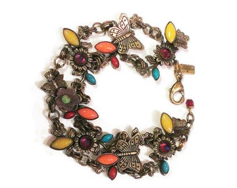Vintage Mary Demarco Colorful Flower and Butterfly Bee Bracelet