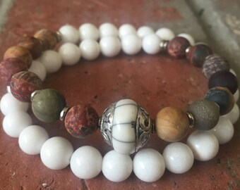 Double Wrap White Jade and Cherry Creek Jasper with Pearl Capped Bead