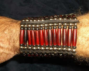 13 strand red hairpipe bracelet