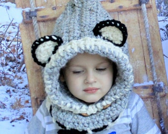 Crochet WOLF hat. Made to order. The Woodlynn Wolf Cowl.