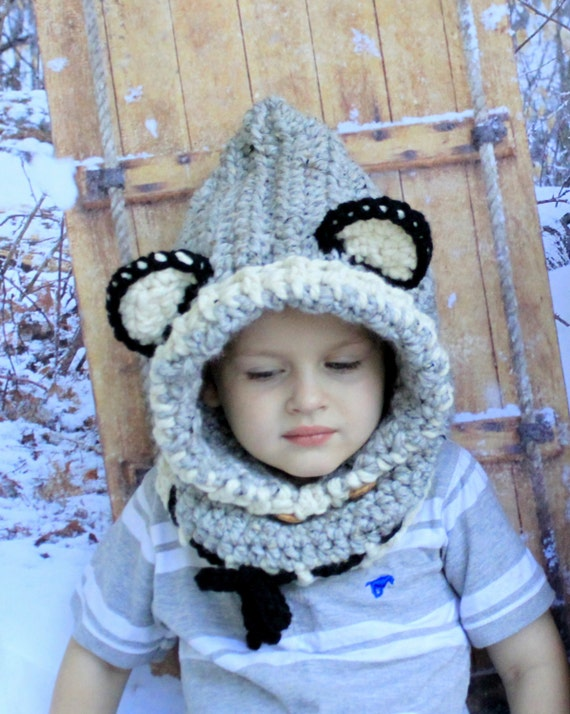 Crochet WOLF Hooded cowl hat. Made to order. The Woodlynn Wolf