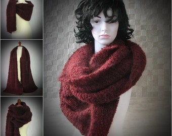 Chunky Scarf , Oversized Wrap Scarf, Chunky Burgundy  Scarf, Chunky Hand Knit Shawl, Oversized Wool Scarf, Wool Winter Wrap, Oversized Scarf