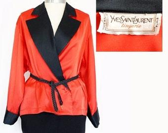 SALE Authentic Yves Saint Laurent Paris , Haute Couture Designer red and black pajamas jacket,Vintage kimono style jacket size L