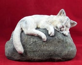 custom order - Ceramic Engraved Painted long haired Cat Cremation Urn - hand made pet urn