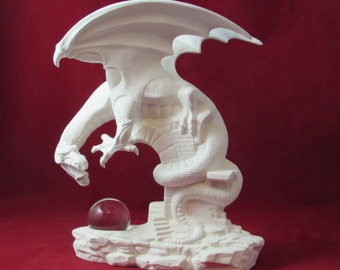 Ceramic  Ready to Paint Dragon on the Ruins- 11.5 inches tall