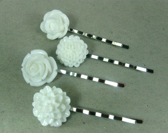 Bridal Bobby Pins, Flower Hair Pins, White Hair Pin Set, Girls Bobby Pins, Bun Pins for Teens