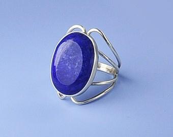 Big Lapis Ring, Silver and Lapis Ring, Vintage Lapis Ring, Handmade Vintage Lapis Ring, Lapis & Sterling Silver, Lapis Jewelry Lapis Lazuli