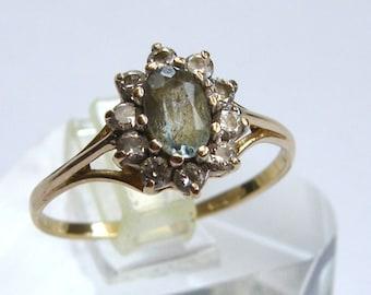 Vintage-9ct Gold/Aquamarine & White Sapphire Daisy Cluster Ring-London-Circa 1981